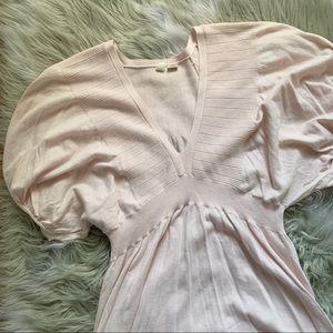 Moth• Anthropologie• pink puff sleeve top
